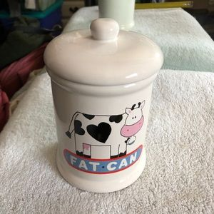 Ceramic cow fat  can
